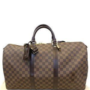 LOUIS VUITTON Keepall 50 Damier Ebene Travel Bag